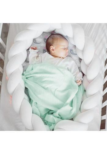 Pletený detský kokón PREMIUM 2 v 1 - biely/jelene