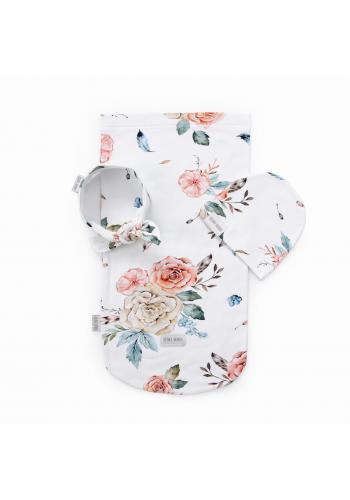 Vreckový kokon pre bábätka s motívom vintage kvetov + čiapka a čelenka