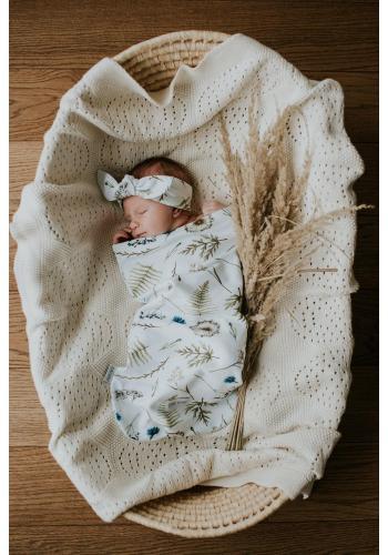 Vreckový kokon pre bábätka s motívom lúčnych kvetov + čiapka a čelenka