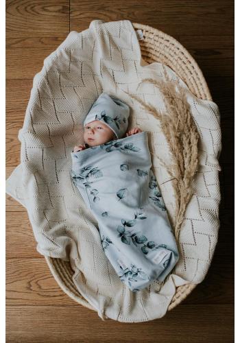 Vreckový kokon pre bábätka s motívom zelených lístkov + čiapka a čelenka
