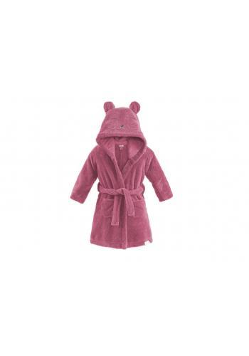Detský župan v ružovej farbe s kapucňou a vreckami