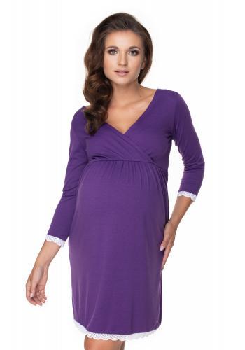 Fialová dojčiaca a tehotenská nočná košeľa s 3/4 rukávom
