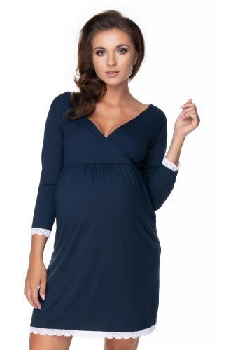 Tmavomodrá dojčiaca a tehotenská nočná košeľa s 3/4 rukávom