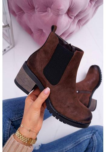 Hnedé členkové topánky na širokom podpätku pre dámy