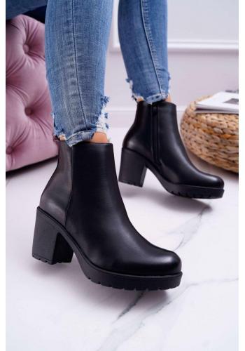 Členkové dámske čižmy čiernej farby na širokom podpätku vo výpredaji