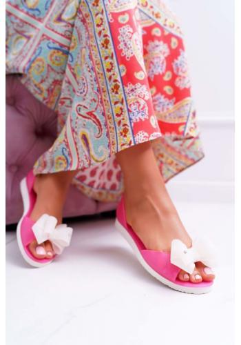 Ružové gumené baleríny s mašľou pre dámy