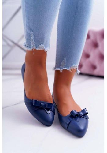 Dámske gumené baleríny modrej farby s mašličkou