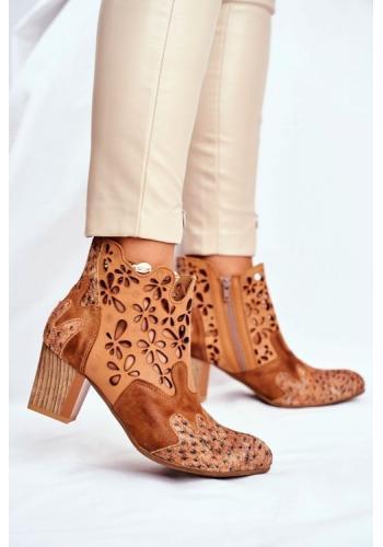 Kožené členkové topánky v hnedo béžovej farbe na opätku