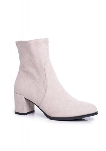 Sivé členkové topánky na opätku