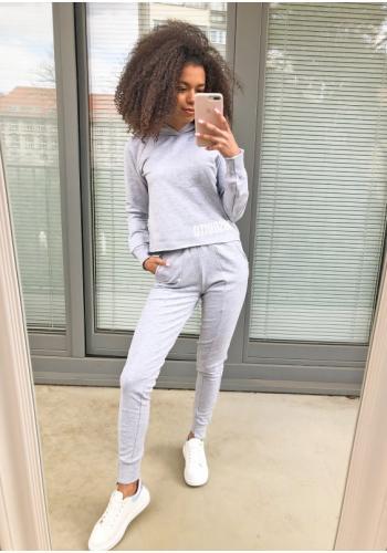 Sivé bavlnené tepláky pre dámy