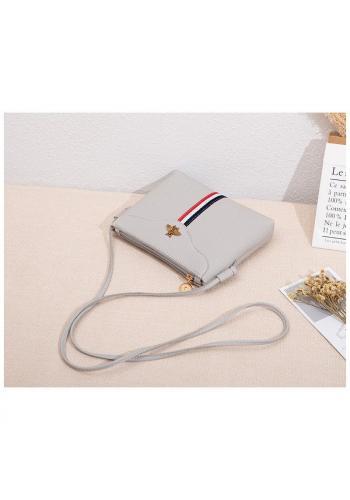 Sivá mini kabelka s kontrastným pásom pre dámy