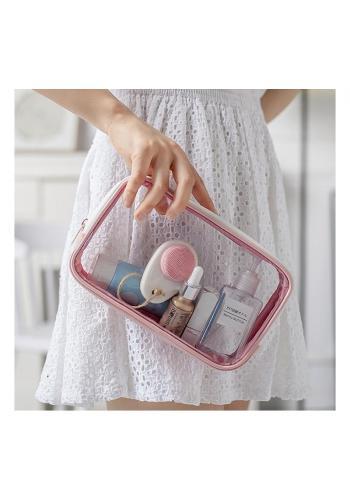 Dámska priehľadná kozmetická taška v ružovej farbe