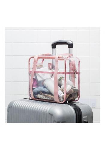 Ružová priehľadná kozmetická taška pre dámy