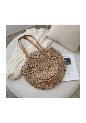 Hnedá okrúhla prútená kabelka pre dámy