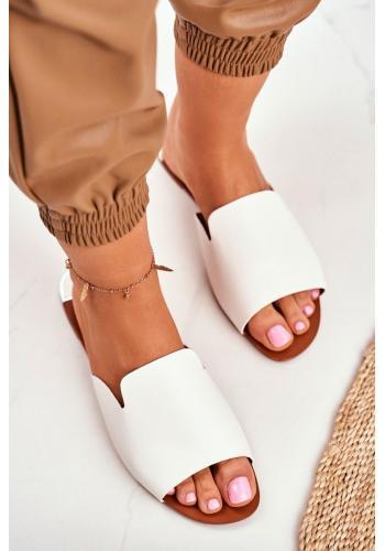 Elegantné dámske šľapky bielej farby