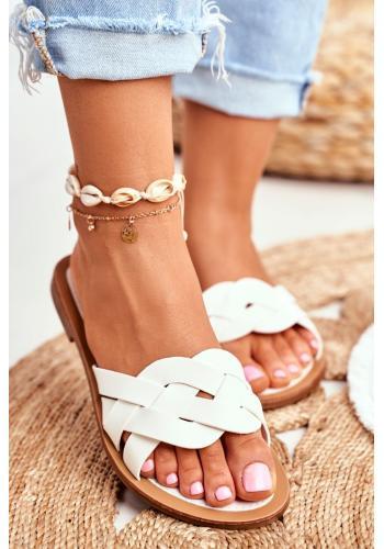 Dámske elegantné šľapky v bielej farbe