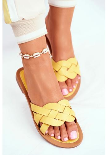 Elegantné dámske šľapky žltej farby