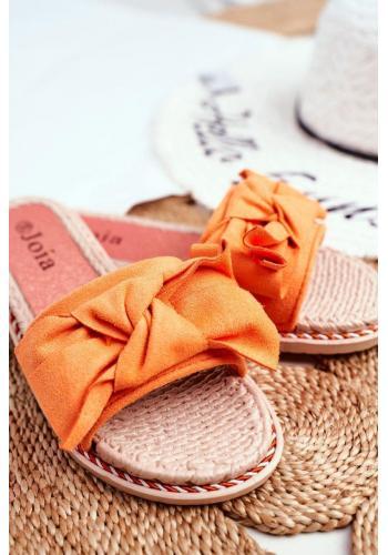 Oranžové semišové šľapky s mašľou pre dámy