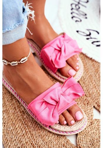 Dámske semišové šľapky s mašľou v ružovej farbe