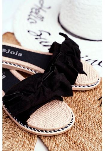 Dámske semišové šľapky s mašľou v čiernej farbe