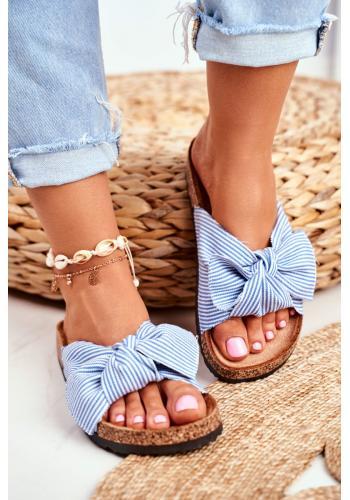 Modro-biele pásikavé šľapky s mašľou pre dámy
