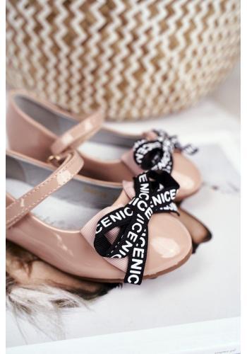 Dievčenské módne balerínky s mašľou v béžovej farbe