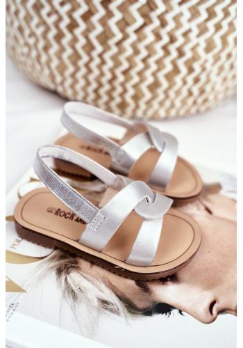 Nazúvacie detské sandále striebornej farby s gumičkou