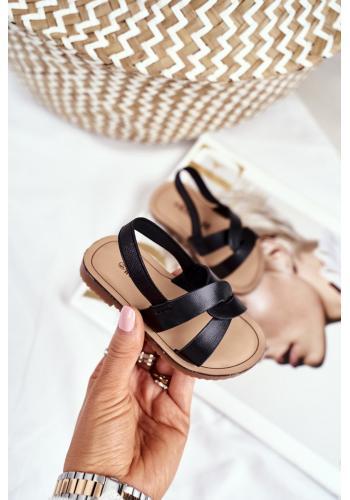 Čierne nazúvacie sandále s gumičkou pre deti