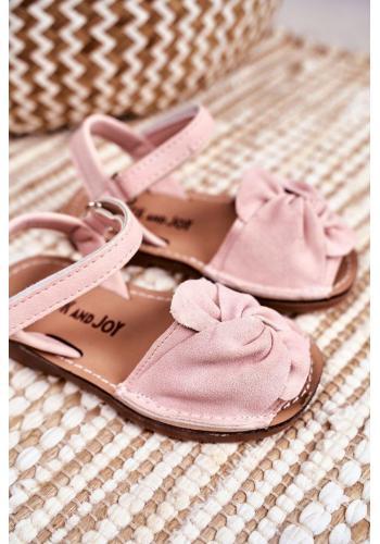 Detské semišové sandálky so suchým zipsom v ružovej farbe