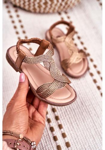 Krásne detské sandálky ružovo-zlatej farby s gumičkou
