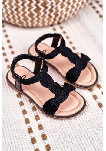 Čierne krásne sandálky s gumičkou pre deti
