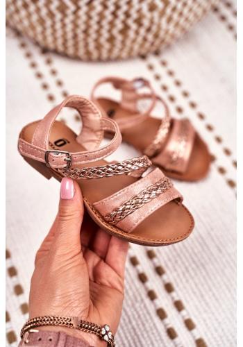 Elegantné detské sandálky ružovo-zlatej farby