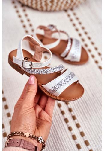 Strieborné elegantné sandálky pre deti