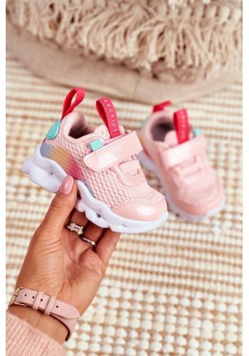 Detské štýlové tenisky so svietiacou podrážkou v ružovej farbe