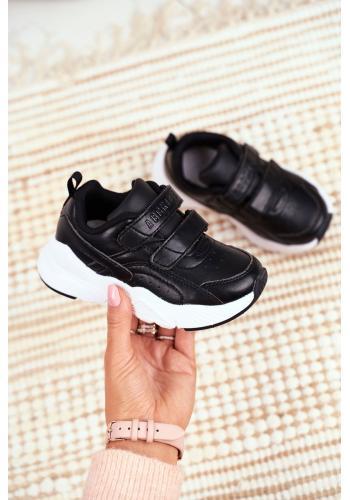 Čierne športové tenisky so suchým zipsom pre deti