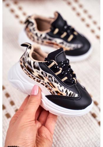 Čierne módne tenisky s leopardím vzorom pre deti