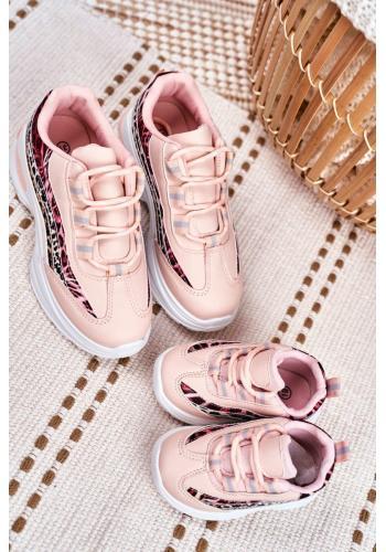 Módne dievčenské tenisky ružovej farby s leopardím vzorom