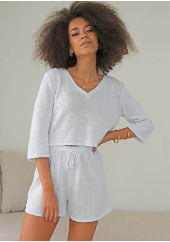 Bavlnené pletené kraťasy pre dámy v bielej farbe