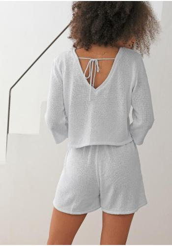 Biely bavlnený sveter s výstrihom v tvare V pre dámy