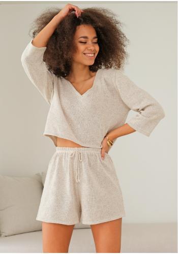 Béžové bavlnené pletené kraťasy pre dámy