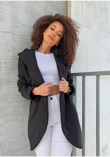 Čierny bavlnený kabát s kapucňou pre dámy