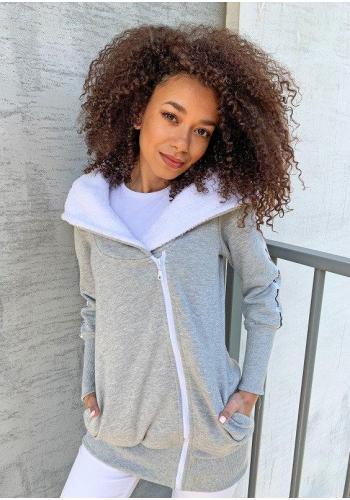 Sivá dlhá mikina na zips s kapucňou pre dámy