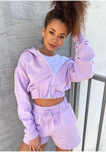 Dámska tepláková mikina na zips s kapucňou vo fialovej farbe