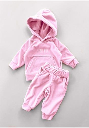 Velúrové detské nohavice ružovej farby