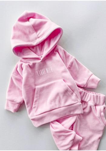 Velúrová detská mikina ružovej farby s nápisom I love milk