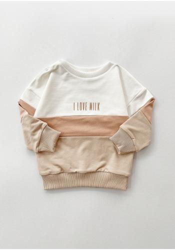 Detská mikina béžovej farby s kontrastnou vložkou a nápisom I love milk
