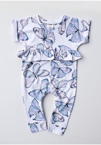 Dievčenský overal s modrými motýľmi a s krátkym rukávom