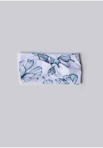 Biela čelenka s modrými motýľmi pre dievčatá