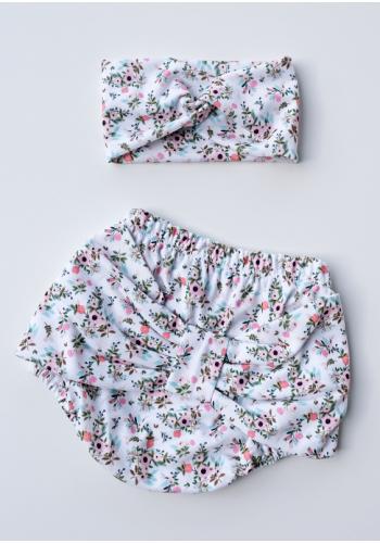 Kvetované dievčenské kraťasy s mašľou