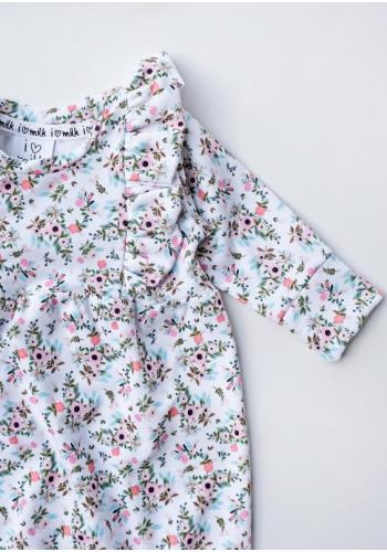 Kvetinový dievčenský overal s volánmi